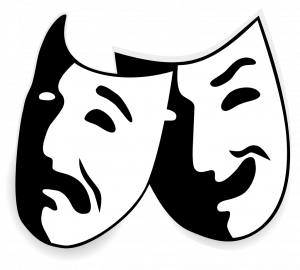 [Comedy and tragedy masks used to symbolize drama or theatre.]